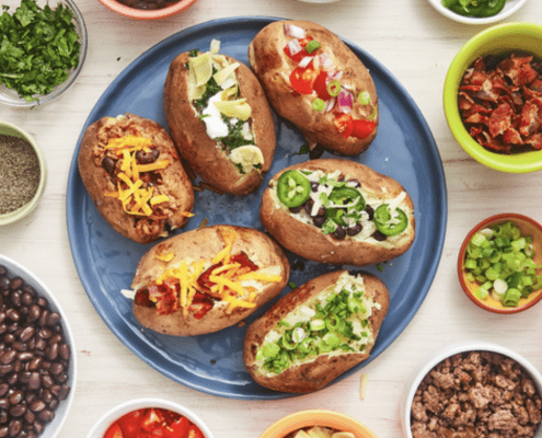 Baked potatoes with healthy toppings